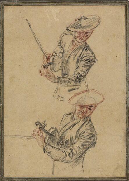 Jean-Antoine Watteau, 'Two Studies of a Violinist Tuning His Instrument', 1717/1718