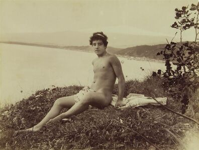 Wilhelm Von Gloeden, '[Nude Young Sicilian Man, Resting on a Blanket]', ca. 1910