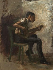 """Thomas Eakins, 'Study for """"Negro Boy Dancing"""": The Banjo Player', probably 1877"""