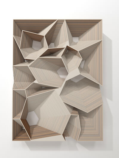 Marco A. Castillo, 'Low relief with 17 polyhedric depressions (Uno)', 2020