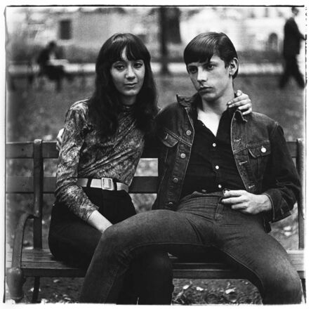 Diane Arbus, 'Young couple on a bench in Washington Square Park, NYC', 1965
