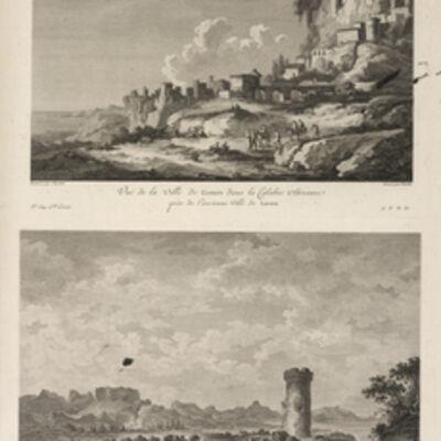 Jean Claude Richard de Saint-Non (author), 'Vu‰ de la Ville de Gerace, prŠs de l'ancienne Ville de Locres ; Vu‰ de la Tour de Pagliapoli, et des Ruines de Locres', 1781