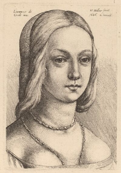 Wenceslaus Hollar after Lorenzo di Credi, 'Head of Woman Looking Right'