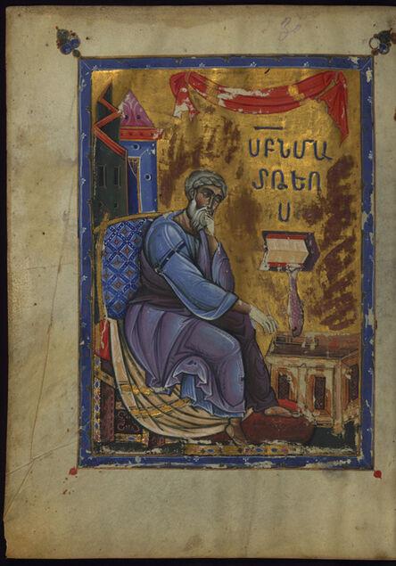 T'oros Roslin, 'Evangelist Matthew Seated Dipping Pen in Inkwell', 1262