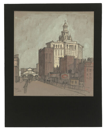 Jules Andre Smith, 'A View from the Brooklyn Bridge Featuring the Municipal Building (1900) and the Park Row Terminal (1883)', 1915