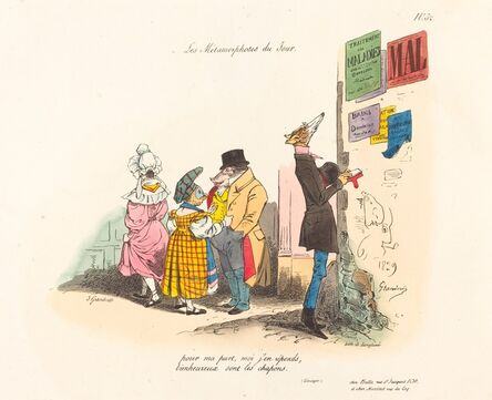 Jean-Ignace-Isidore Grandville, 'Metamorphoses of the Day: Regrets, or Never till the Next Time', 1829