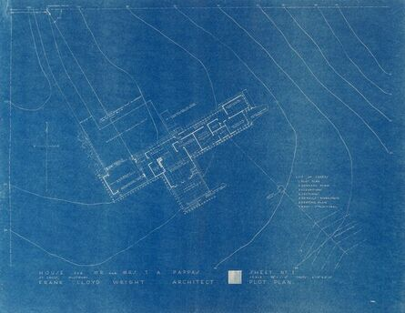 Frank Lloyd Wright, 'Seven Blueprints for the T.A. Pappas House, St. Louis, Missouri', circa 1960-1964