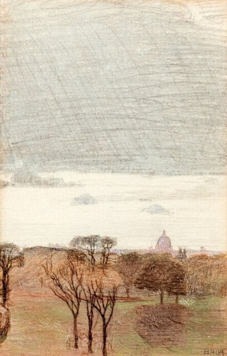 Giacomo Balla, 'Villa Borghese from the balcony with the Dome'