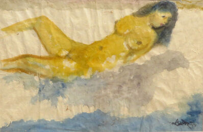 Kartick Chandra Pyne, 'Nude Women Bathing, Reclining, Watercolor Painting by Master Artist Kartick Chandra Pyne', 2005