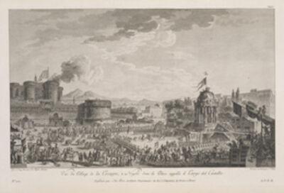 Jean Claude Richard de Saint-Non (author), 'Vue du pillage de la cocagne, … Naples dans la place appell'e il Largo del Castello', 1779