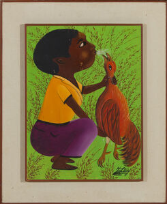 Jacques-Richard Chery, 'Man and his coq', ca. 1980