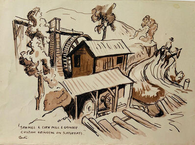 Thomas Hart Benton, 'Saw Mill and Cornmeal Grinder - Custom Grinding on Saturdays', ca. 1930