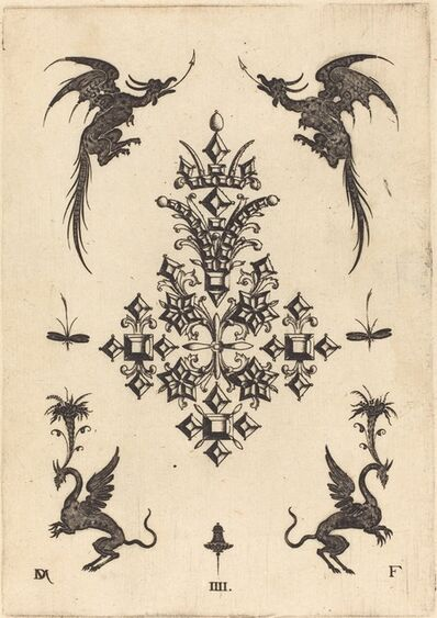 Daniel Mignot, 'Brooch with Table-Stones, Winged Dragons at Top, and Griffins at Bottom', 1596