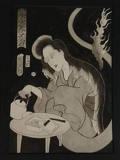 Horihiro Mitomo, 'カップ焼ソバ食べる女', 2019