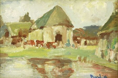 Ronald Ossory Dunlop, 'COWS IN A FARMYARD'