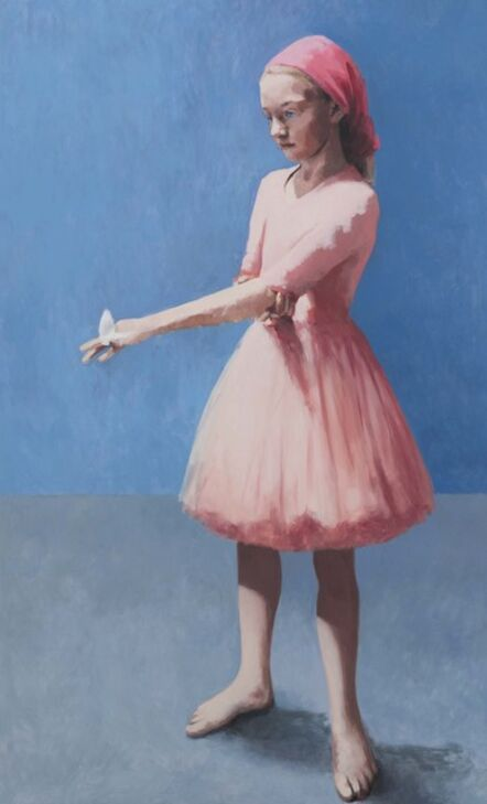 Claerwen James, 'Girl With a Butterfly, Pink Against Blue', 2018
