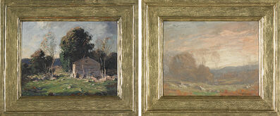George M. Bruestle, 'Two Works of Art: Untitled (Cabin and Trees), Untitled (Pink Sky)'