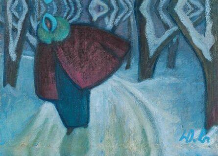 Werner Berg, 'Woman on snowy Pathway', 1975