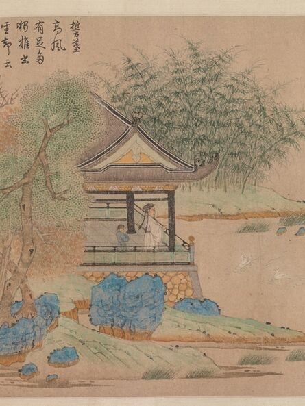 Qian Xuan 钱选, 'Wang Xizhi watching geese (元 錢選 王羲之觀鵝圖 卷)', ca. 1295