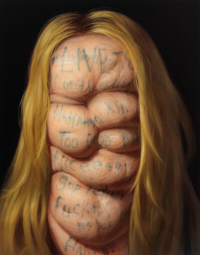 Christian Rex van Minnen, 'Self Portrait with Instagram Live Feed Comments in Blonde', 2017