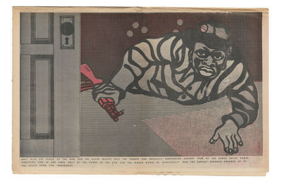 """Emory Douglas, '""""Only with the power of the gun can the black masses halt the terror and brutality perpetrated against them...""""', 1970"""