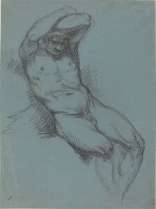Raphael Lamar West, 'A Seated Male Nude with His Hands Crossed over His Head'