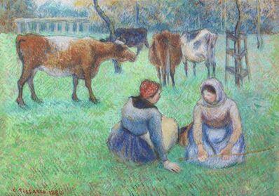 Camille Pissarro, 'Paysannes assises gardant des vaches', 1886