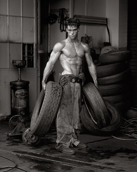 """Herb Ritts, '""""Fred with Tires- Bodyshop Series""""', 1984"""