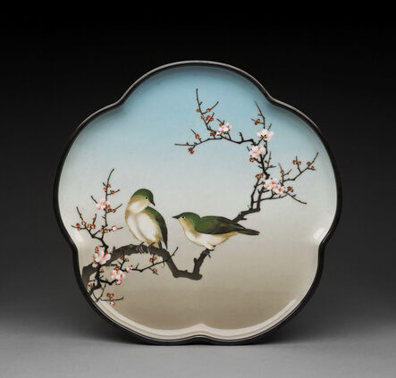 Namikawa Sosuke, 'Tray with Birds and Cherry Blossoms', Meiji Period, c. 1900, 1910