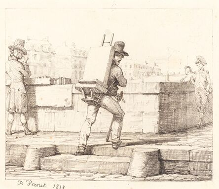 Horace Vernet, 'Artist Carrying Easel with a Lithographic Stone', 1818