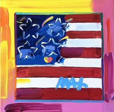 Peter Max, 'Flag With Heart ', 2018