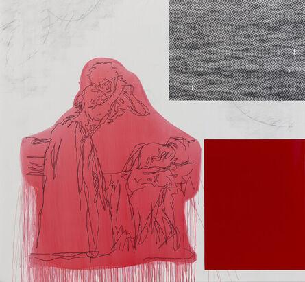 Julião Sarmento, 'Joven en pie, mesándose los cabellos (Red)', 2020