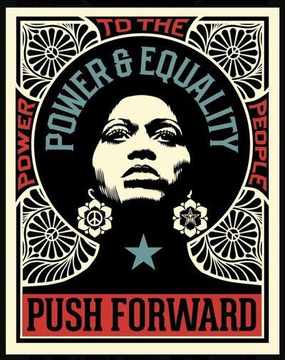 Shepard Fairey, 'Shepard Fairey Obey Giant Push Forward Letterpress Print Black Life's Matter Power & Equality ', 2021