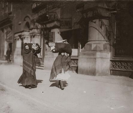 Lewis Wickes Hine, 'Women Carrying Garments, Bleecker Street, New York City, New York', 1912