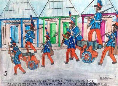 """Gervais Emmanuel Ducasse, '""""Dans les Quartiers a Port-au-Prince. Canons et Canonniers de L'Armee en Exercice de Parade"""" ', 1977"""