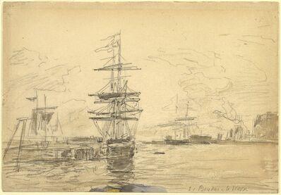 Eugène Boudin, 'Ships in Harbor', ca. 1875