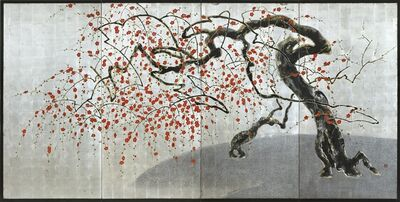 Kawasaki Shozo, 'A four-fold screen painted in lacquer and colour on a silver ground with two plum trees', Japan, 20th century, Taishō period