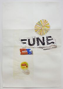 Dawn Clements, 'Carmex, Swingline, FUNE, and paper', 2015