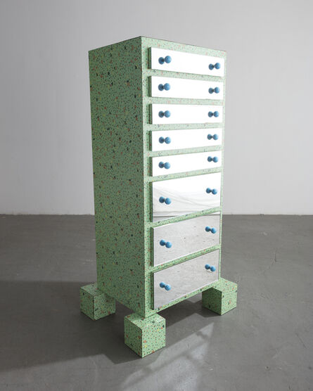 """Paola Navone, '""""Gadames"""" dresser in chipboard, green plastic laminate, plate glass, and blue plastic. ', 1980"""