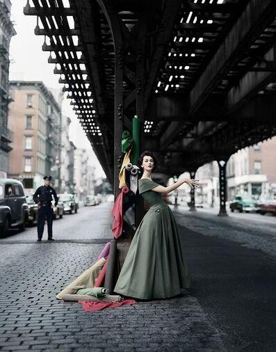 William Helburn, 'Dovima Under the El (Dior Creates Cosmopolitan Drama)', 1955