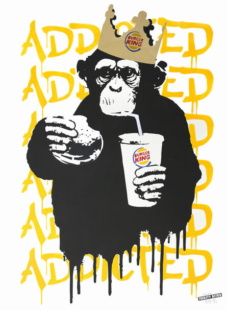 Thirsty Bstrd, 'Fast Food Monkey – Burger King Orange Yellow', 2016