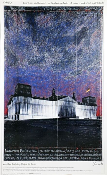 Christo, 'Verhullter Reichstag, Projekt fur Berlin, The Wrapped Reichstag at Night (Hand Signed)', 1993
