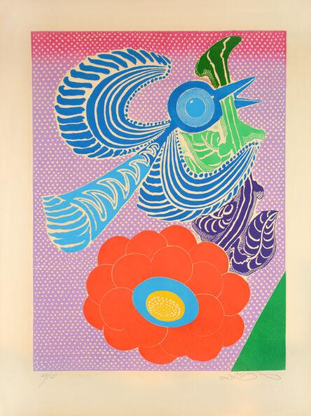 Motoi Oi, 'Blue Bird and Red Flower', ca. 1970