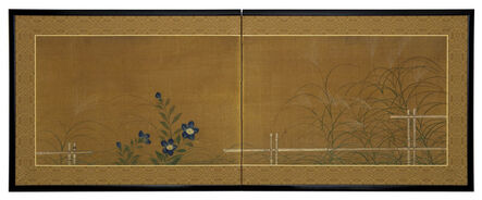 Kano School, 'Fall Grasses and Flowers by Bamboo Fence (T-4013)', 19th Century
