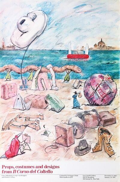 Claes Oldenburg, 'Props, Costumes and Designs from Il Corso del Coltello Exhibition Poster (Leo Castelli Gallery)', 1986