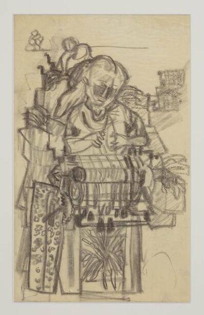 Siri Derkert, 'Knypplerska, skiss till Kvinnopelaren', ca. 1950