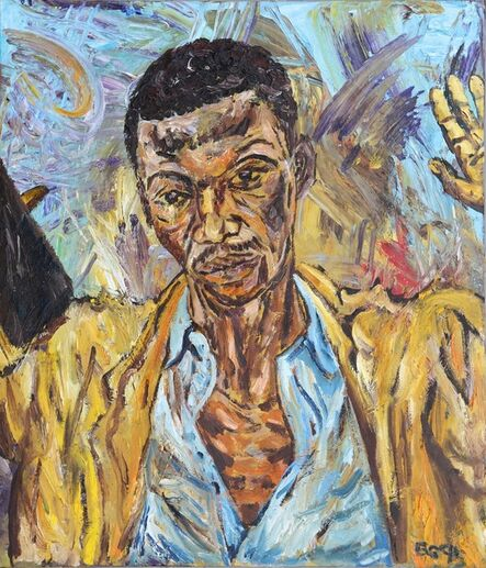 George Gittoes, 'First portrait in oil for 'The Preacher'', 1995