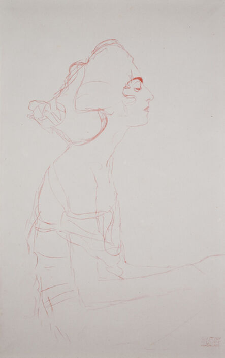 """Gustav Klimt, 'Study for """"Danae"""" (Portrait Study) [Fünfundzwanzig Handzeichnungen]', 1919"""