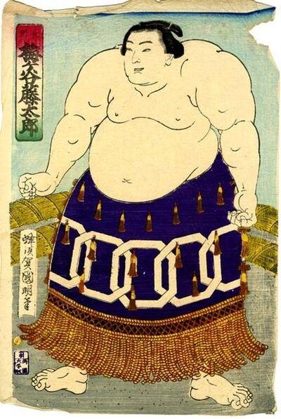 Utagawa Kuniaki II, 'Sumo Wrestler Umegatani Tōtarō I (1845-1928) The 15th Grand Champion (Yokozuna) ', 1868-1912