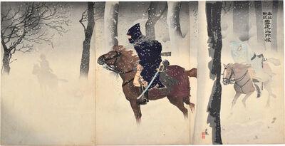 Kobayashi Kiyochika 小林清親, 'Night Patrol in the Snow near Niu-chuang', 1894